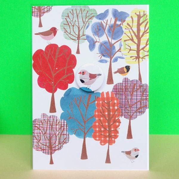 greetings card with badge handmade illustrated by the black rabbit