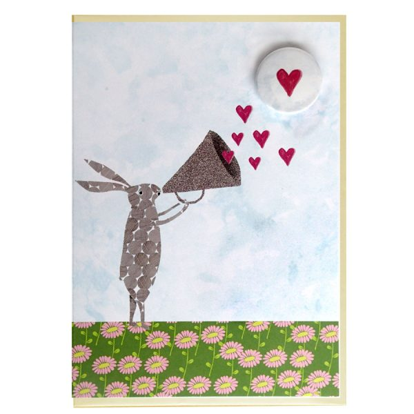 the black rabbit valentines heart badge greeting card handmade