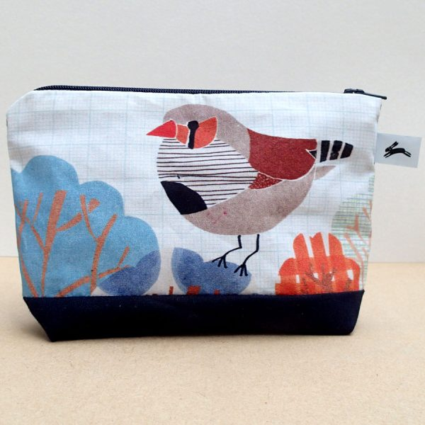 Finch printed bird cosmetic purse handmade by the black rabbit