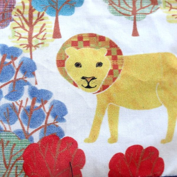 Lion printed zip wash bag handmade by the black rabbit