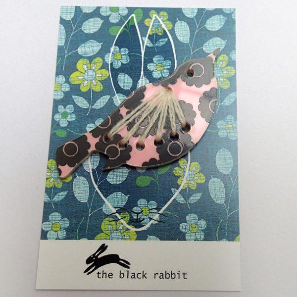 screen printed perspex bird brooch handmade by the black rabbit