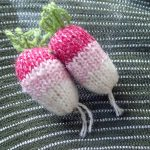 handmade knitted radish brooch by the black rabbit