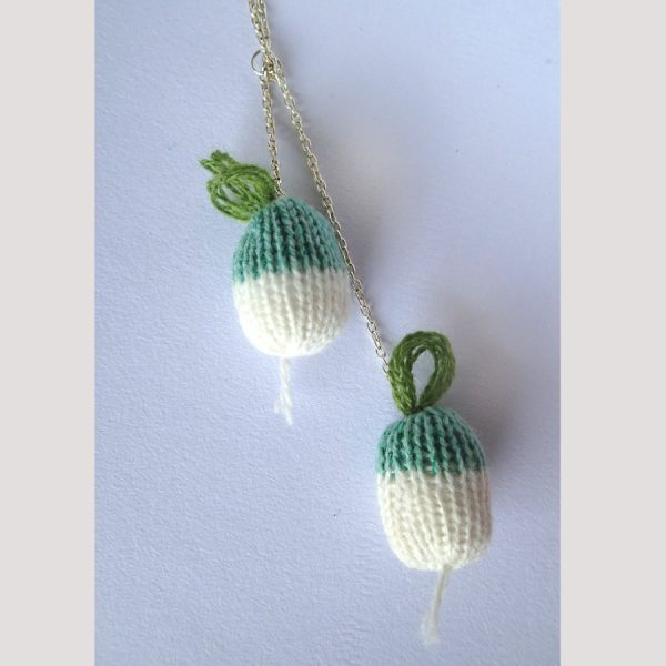 handmade knitted turnip necklace by the black rabbit