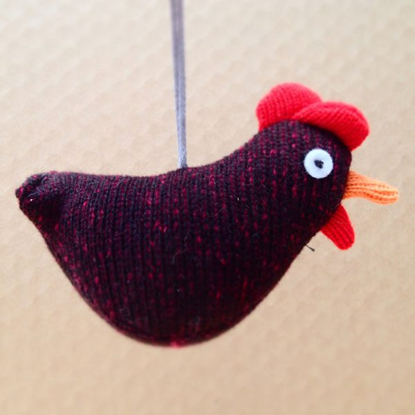handmade knitted lavender chicken by the black rabbit