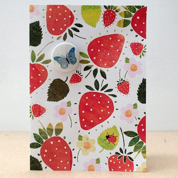 strawberry butterfly badge card handmade by the black rabbit