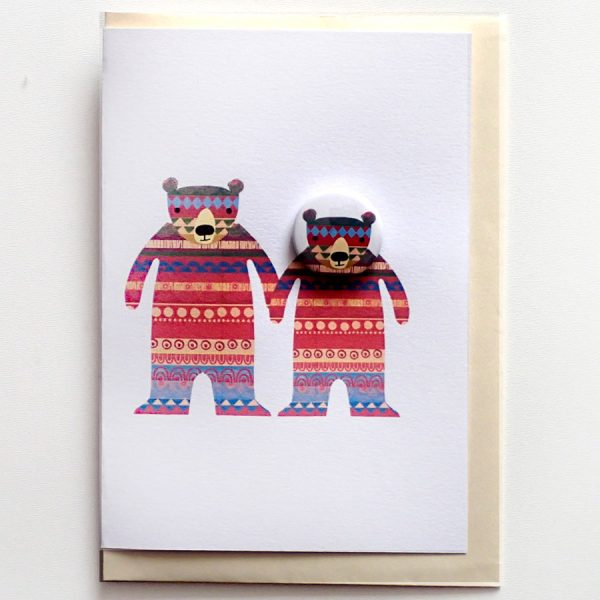 handmade bear badge card with pattern by the black rabbit
