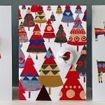 handmade badge card trees pattern the black rabbit
