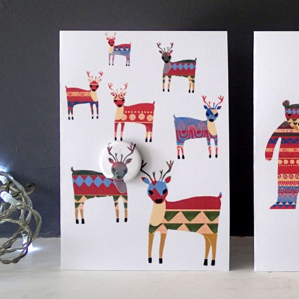 handmade pin bagde greetings card by the black rabbit