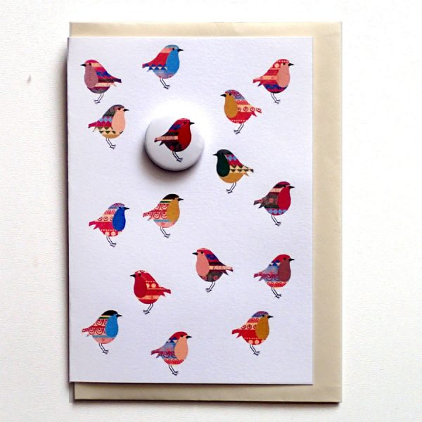 christmas badge greetings card robin by the black rabbit