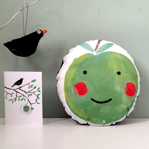 handmade apple print cushion by the black rabbit