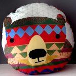 handmade bear print cushion by the black rabbit
