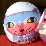 handmade cat print cushion by the black rabbit