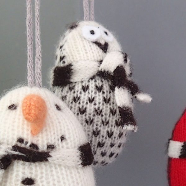 handmade knitted owl christmas decoration by the black rabbit