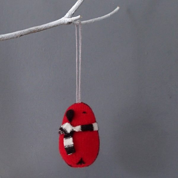 handmade knitted robin christmas decoration by the black rabbit