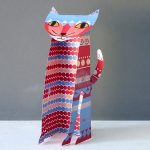 pattern cat paper sculpture by the black rabbit