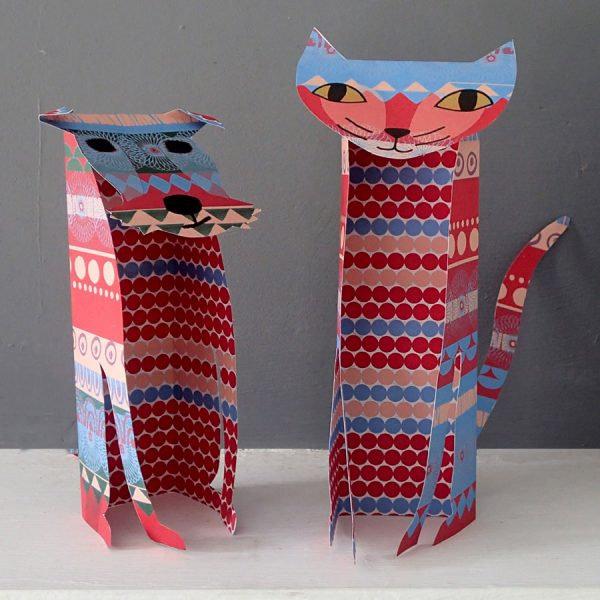 patterned paper dog sculpture by the black rabbit
