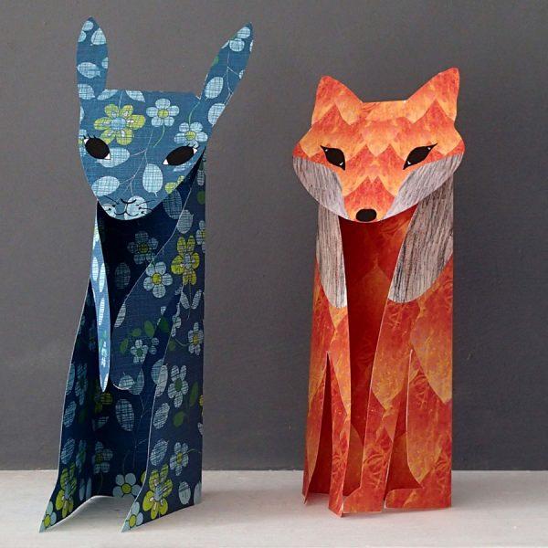 pattern fox paper sculpture by the black rabbit