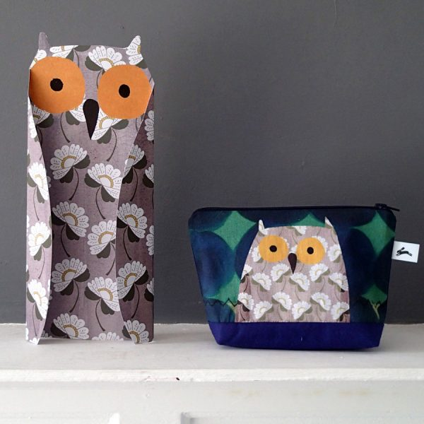 printed floral pattern owl paper sculpture by the black rabbit