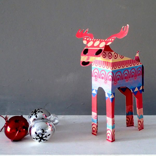 reindeer paper sculpture christmas decoration by the black rabbit
