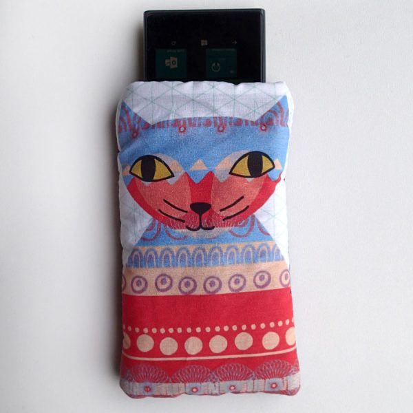 handmade cat print glasses case by the black rabbit