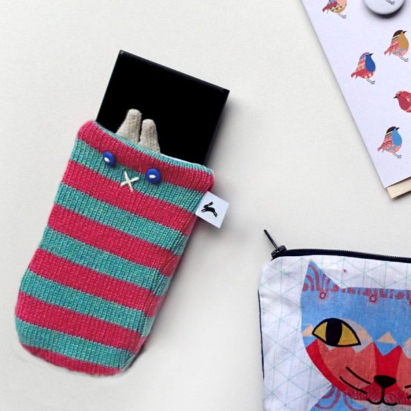Handmade knitted phone cover cosy by the black rabbit