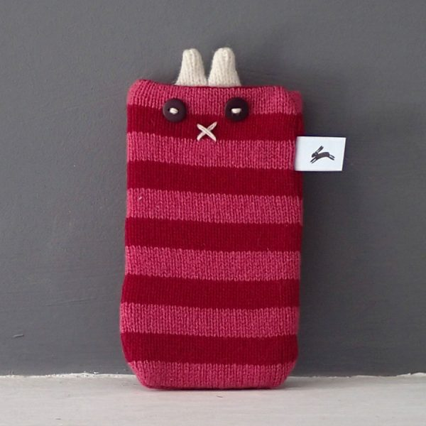 Handmade knitted stripe phone cosy by the black rabbit