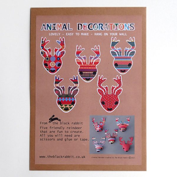 christmas reindeer paper sculpture kit by the black rabbit