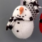 handmade knitted snowman christmas decoration by the black rabbit