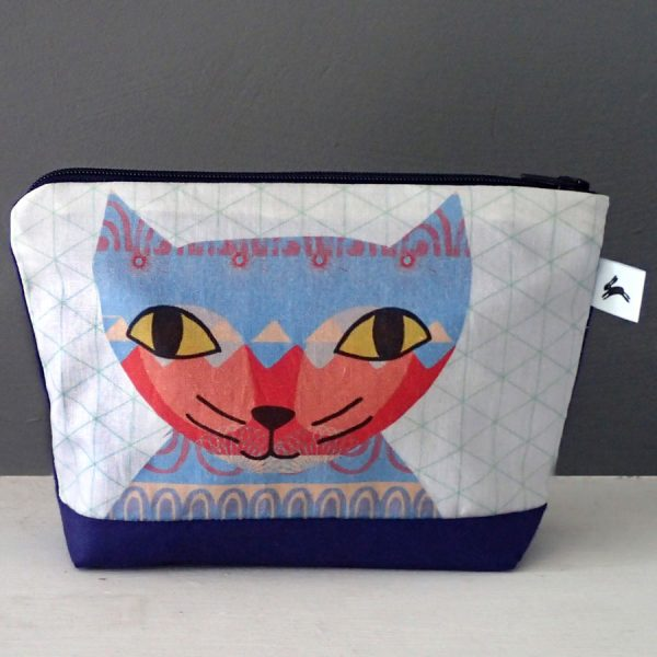 cat pattern wash cosmetic purse by the black rabbit