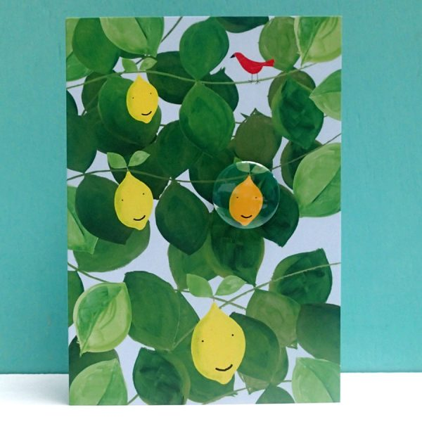 happy lemon badge card by the black rabbit