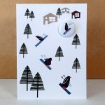 skiing penguins badge card by the black rabbit