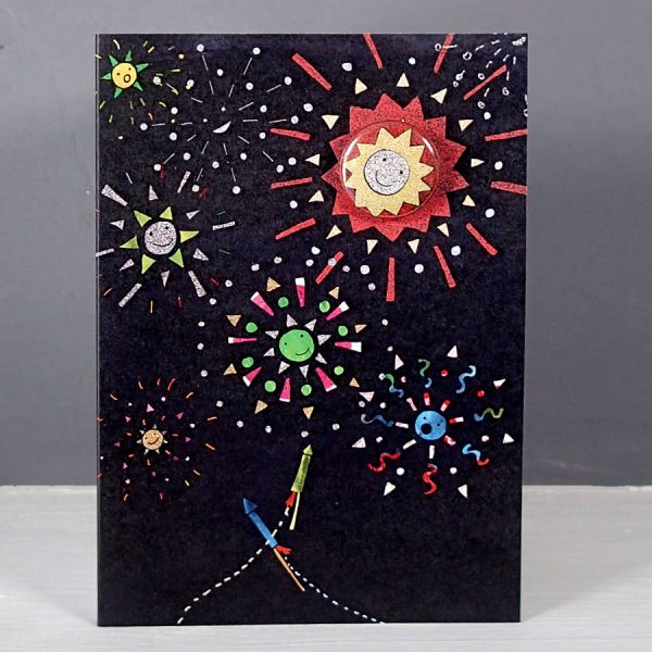 Fireworks badge greetings card by the black rabbit