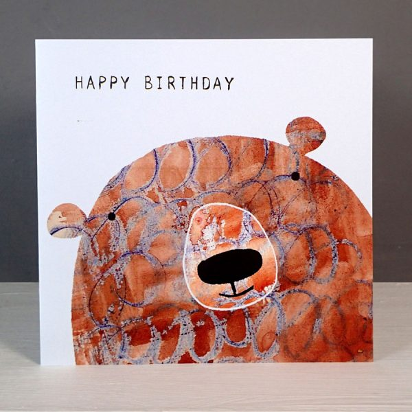 happy birthday bear greetings card by the black rabbit