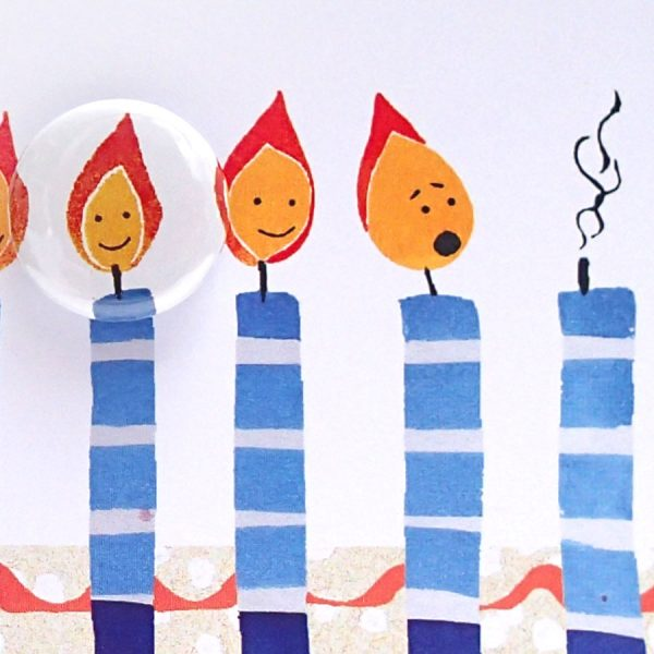 Birthday candles illustrated badge card by the black rabbit