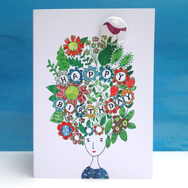 Illustrated birthday floral hair badge card by the balck rabbit