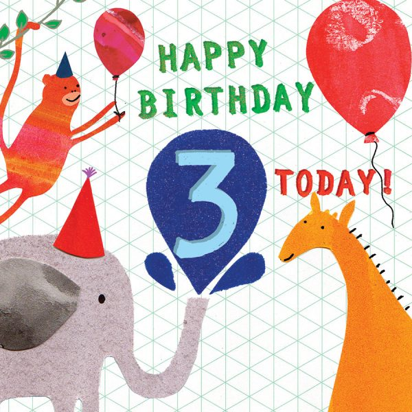 birthday age 3 card by the black rabbit