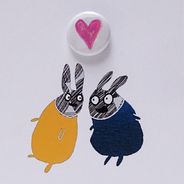 Heart pin badge greetings card by the black rabbit