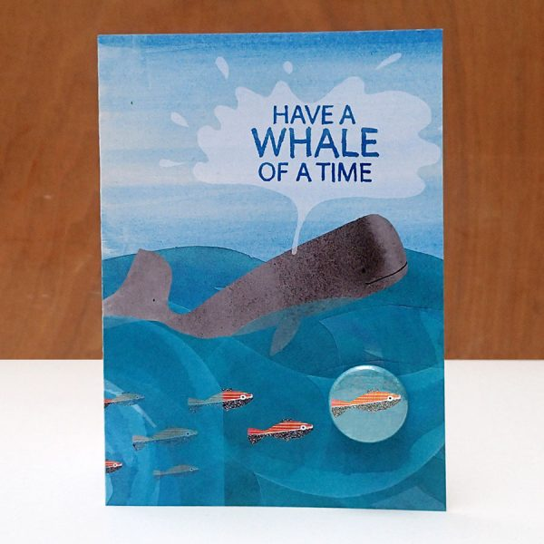 Whale of a time badge greetings card by the black rabbit