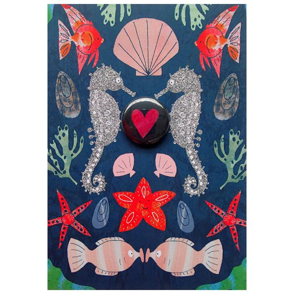seahorse heart badge greetings card by the black rabbit