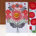 Flower lady floral badge greetings card by the black rabbit