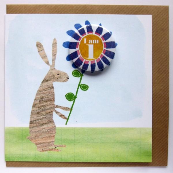 Birthday badge rabbit card age one