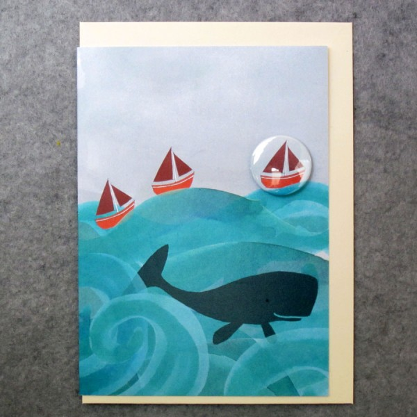 whale and boat badge greetings card