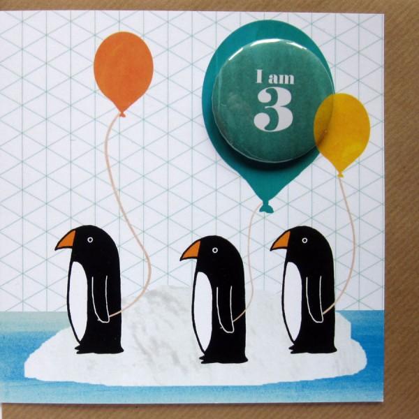 penguins birthday card age 3