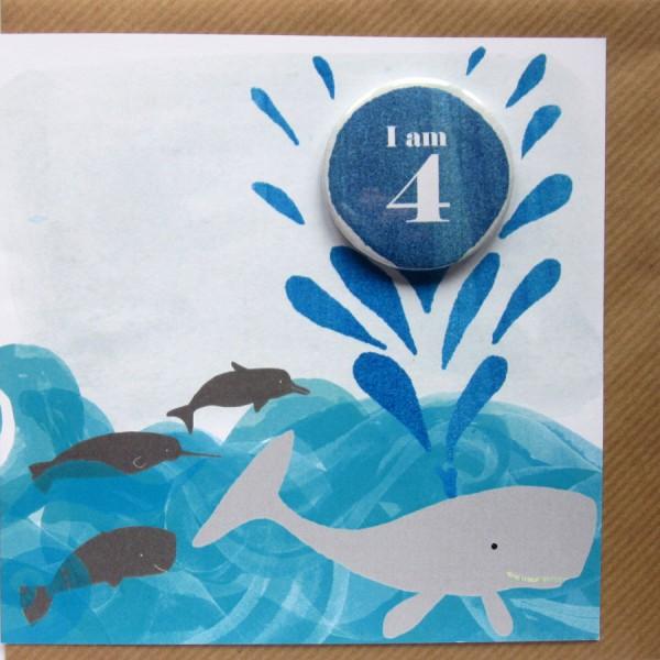 age 4 birthday badge card