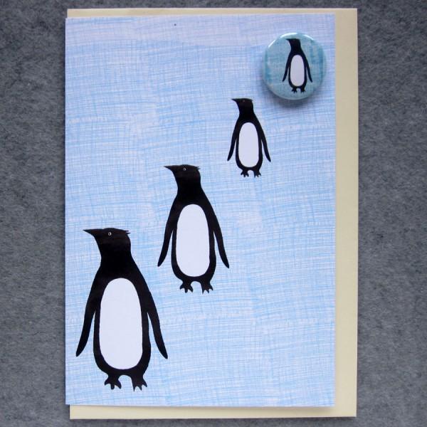 illustrated penguins badge card