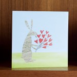 rabbit and flowers greetings card