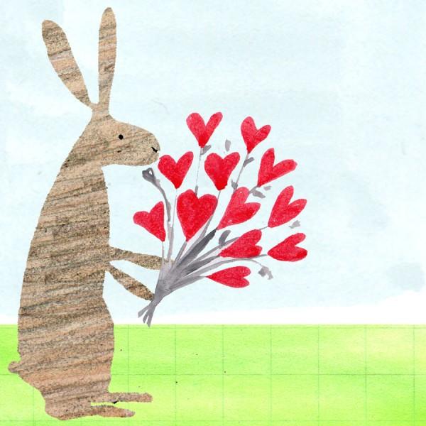 rabbit bouquet congratulations card