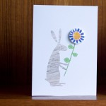 rabbit and flower valentines card