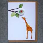 giraffe and ladybrid badge greetings card
