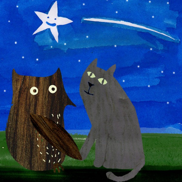 owl and cat illustrated card